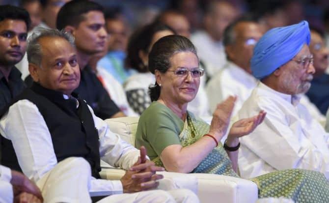 Ashok gehlot with Sonia Gandhi